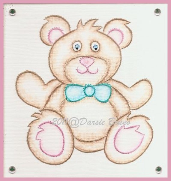 Teddy bear embroidery pattern for greeting cards etsy image 0 m4hsunfo