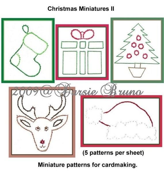 Patrón de bordado de Navidad miniaturas II papel para tarjetas de  felicitación