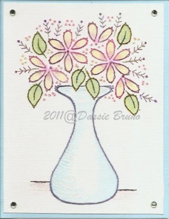 Patron para bordar a florero flores flores para tarjetas de | Etsy