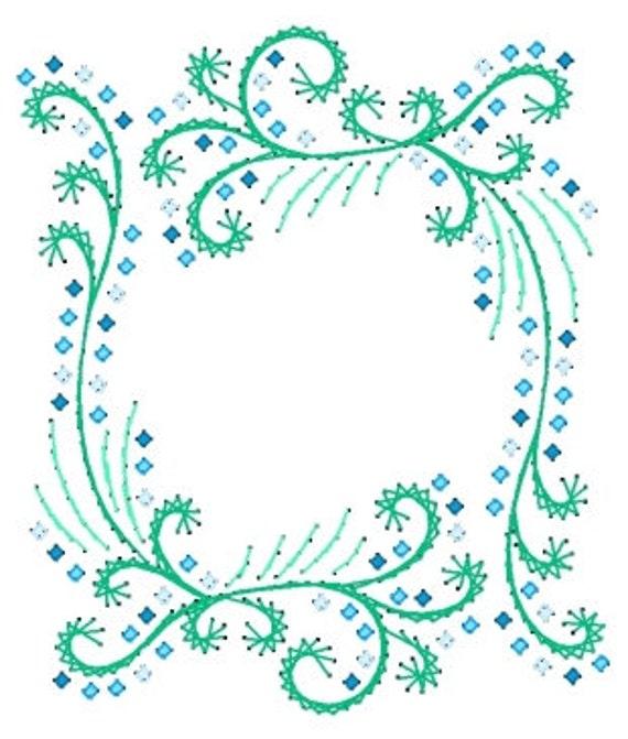 Flores en cascada marco bordado patrón de papel para tarjetas | Etsy