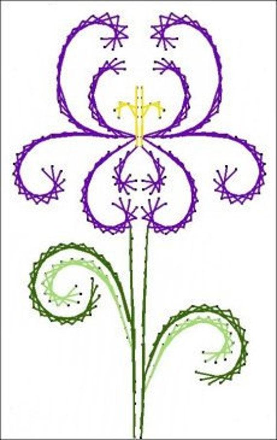 Patron para bordar Deco Iris Flores Flores papel para tarjetas | Etsy