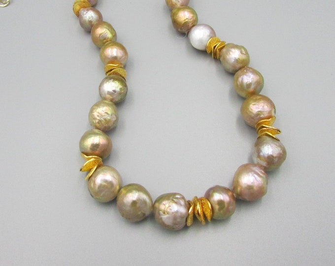 Baroque Pearl Necklace, Kasumi Like Pearl Jewelry. Rippled Pearl Jewelry, Long Pearl Necklace