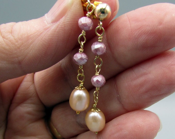 Long Pearl Earrings | Pink Sapphire Earrings | Delicate Earrings