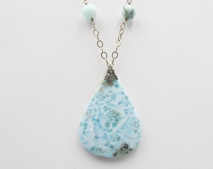 Larimar Pendant Sterling Silver Chain & Peruvian Opal Beads