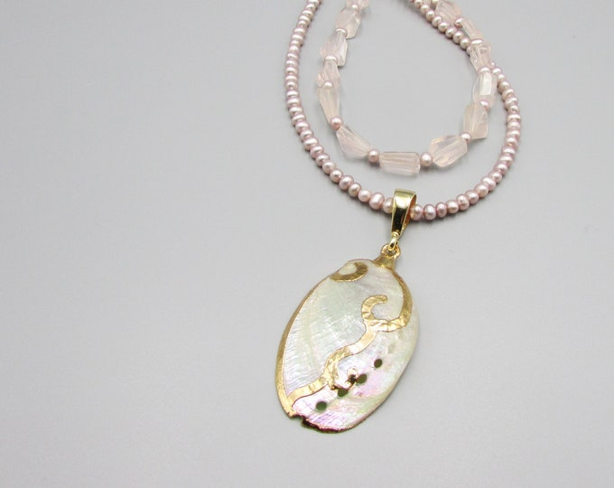 Seashell Pearl and Rose Quartz Necklace
