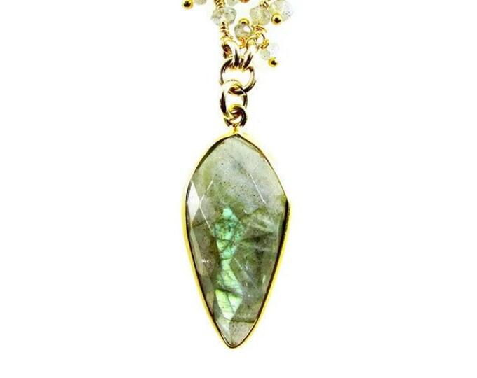 Genuine Labradorite Necklace | Tassel Chain Necklace | Gemstone Pendant | Statement Jewelry