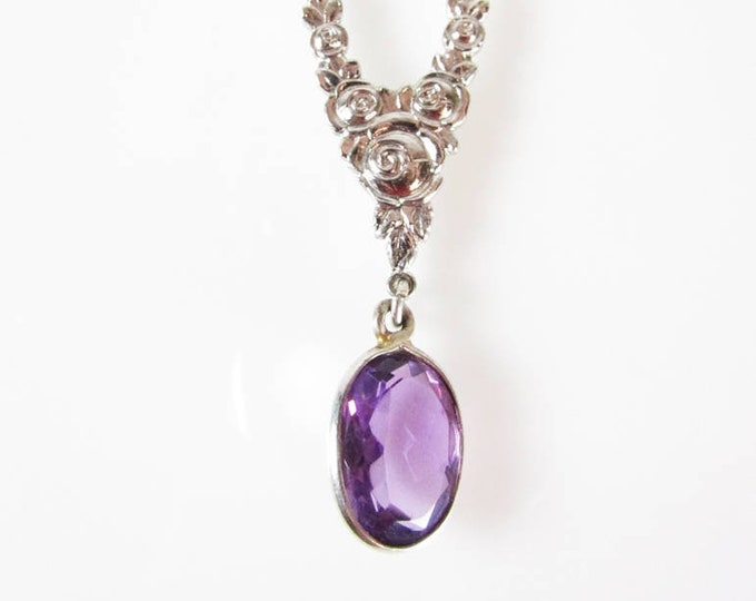 Amethyst Silver Pyrite Necklace | Statement Jewelry | Y-Necklaces