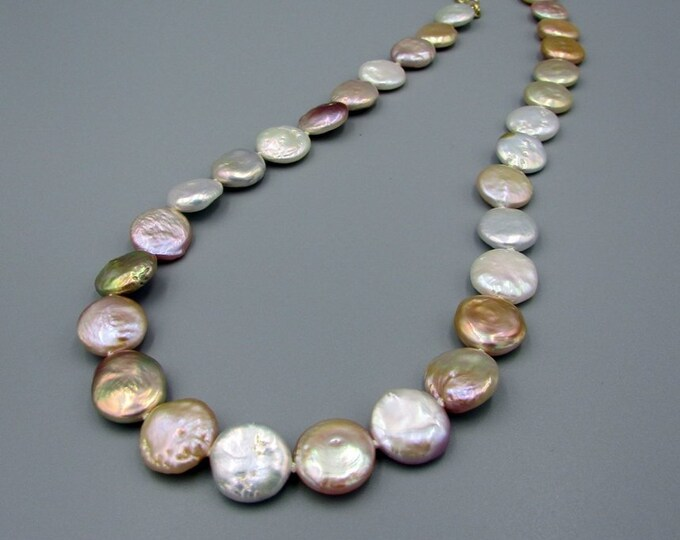 Coin Pearl Hand Knotted Necklace |  Freshwater Pearl Necklace | Multi Colored Pearl Necklace | Bridal Jewelry