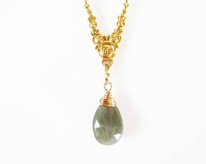 Long Labradorite Gold Necklace