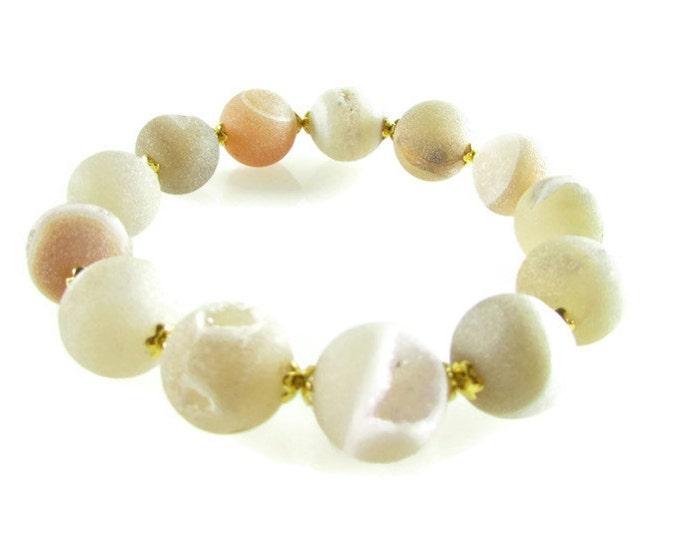 Druzy Bracelets | White Round Bead Stone Bracelet | Stacking Bracelets | Large Druzy Bead Bracelet