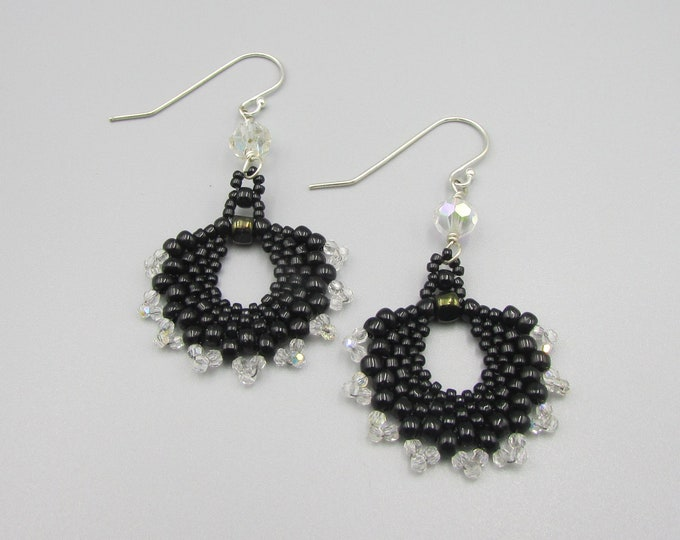 Black Dangle Earrings | Bead Woven Earrings | Crystal Seed Bead Dangles | Fan Shaped Earring