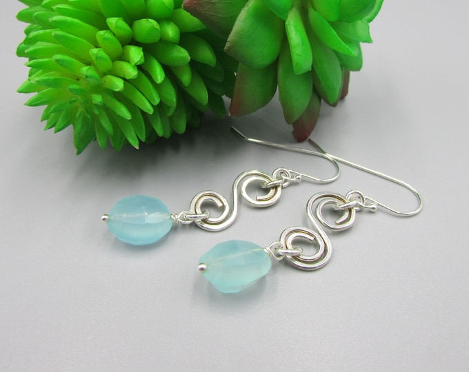 Chalcedony Sterling Silver Earrings | Statement Jewelry