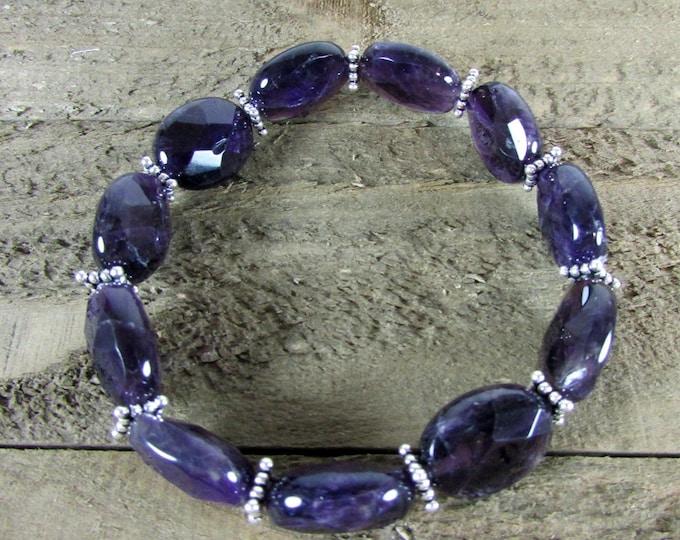 Amethyst Stretch Bracelet   February Birthstone   Deep Purple Bracelets