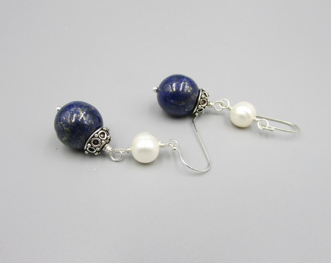 Lapis & Pearl Earrings | Round Stone Earrings | Dark Blue Dangles