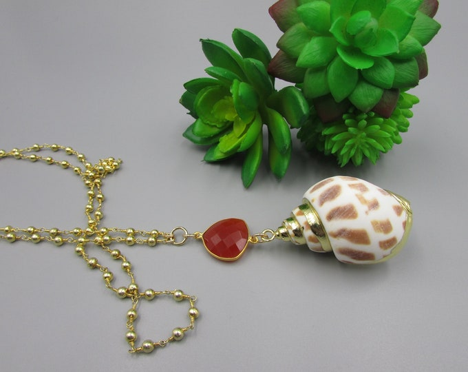 Long Seashell Pendant Necklace Gold Pyrite Rosary Chain Stacking Necklaces