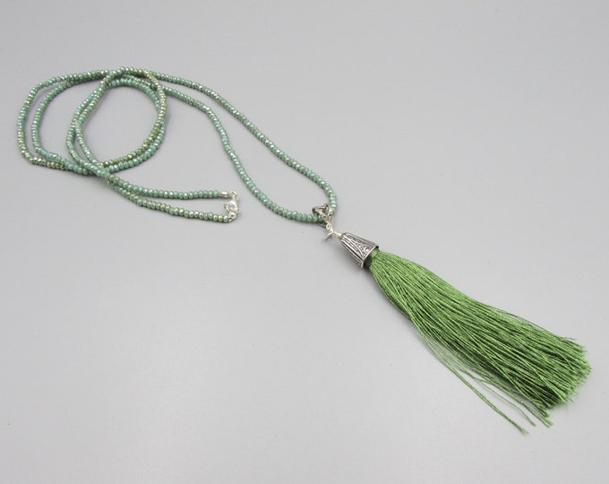 Extra Long Tassel Necklace | Sage Green Crystal Tassel Lariat | Boho Necklace