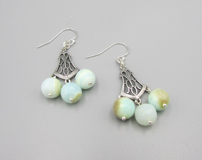 Peru Opal Earrings | Blue Opal Dangles