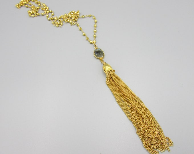 Long Gold Tassel Necklace, Gold Pyrite Beaded Tassel Necklace