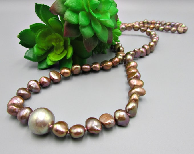 Brown Pearl Necklace | Long Hand Knotted Necklace