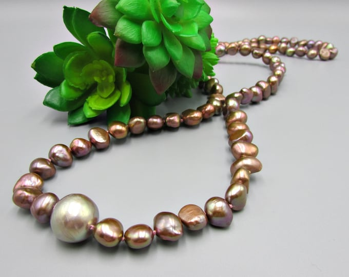 Brown Pearl Necklace, Long Hand Knotted Pearl Necklace, Nugget Pearls Necklace, Edison Pearls
