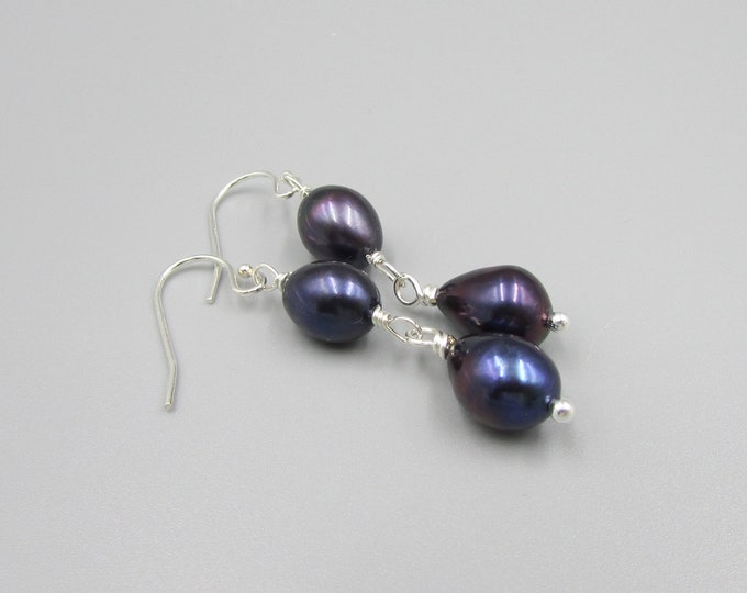 Peacock Pearls Earring | Blue Pearl Earrings | Purple Pearl Earrings