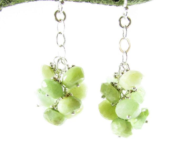 Chrysoprase Earrings   Gemstone Cluster Dangles   Sterling Silver Chrysoprase Jewelry
