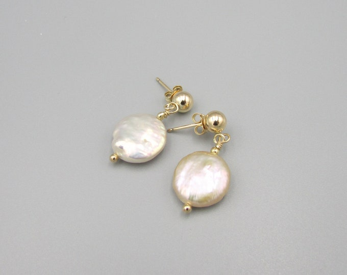 Pearl Coin Earrings | Gold Stud Freshwater Pearl Dangles | Pearl Post Earrings
