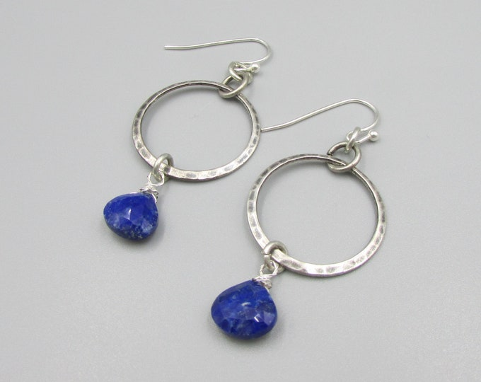 Lapis Hoop Earrings | Statement Earrings