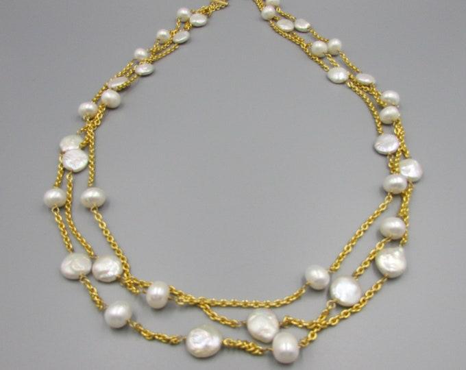 Long Multi Strand Pearl Necklace | Triple Strand Layered and Long Necklace | Long Pearl Layered Necklace