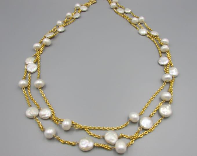 Long Multi Strand Pearl Necklace | Triple Strand Layered and Long Necklace | Long Pearl Layered Necklace