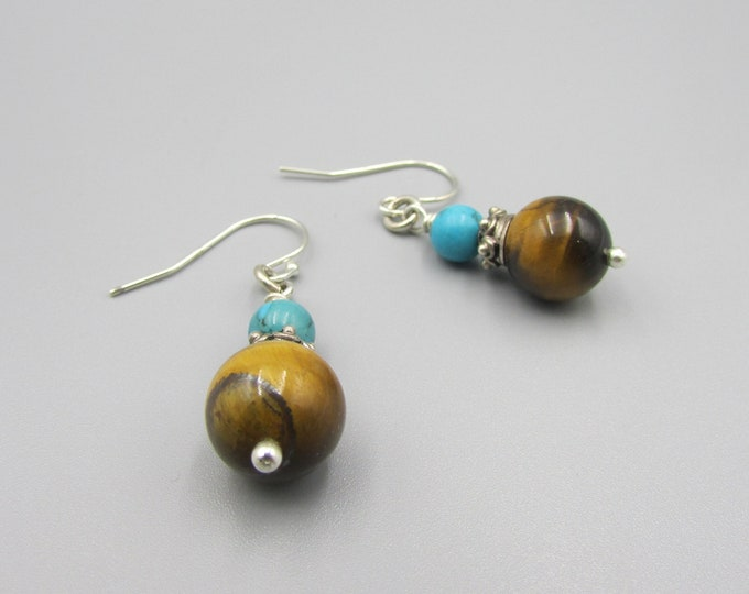 Tiger Eye & Turquoise Dangle Earrings, Tiger Eye Earrings, Simple Drop Dangles