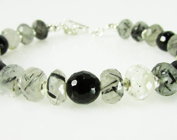 Quartz Crystal Bracelet | Black Onyx Sterling Silver Gemstone Bracelets| Signature Jewelry