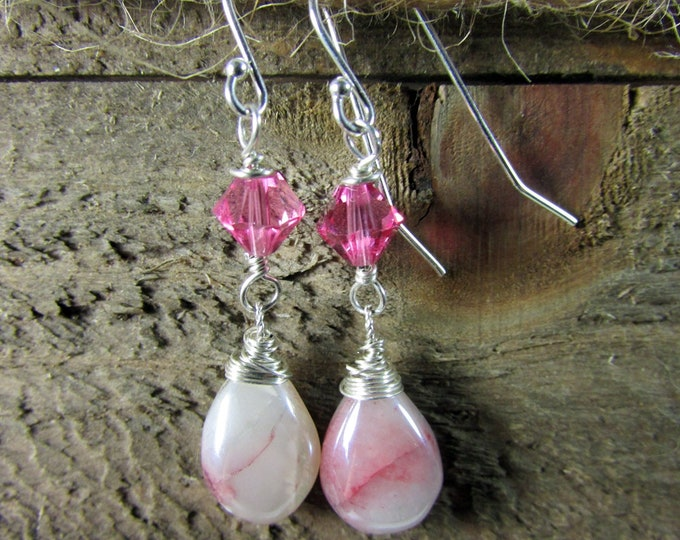 Bio Moonstone & Swarovski crystal Dangle Earring, Pink Gemstone Earring