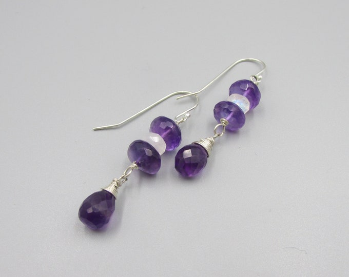Amethyst Earrings | Amethyst & Moonstone Dangles | Deep Purple Earrings | February Birthstone
