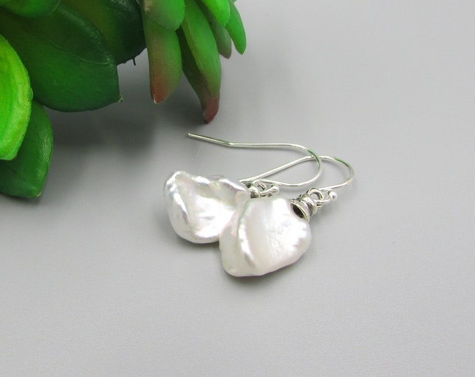 White Keshi Pearl Earrings | Pearl Drop Earrings | Original Earrings | Wedding Jewelry