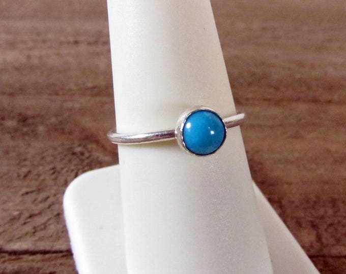 Genuine Sleeping Beauty Turquoise Ring | Round Cabochon Ring |  Sterling Silver Ring | December Birthstone