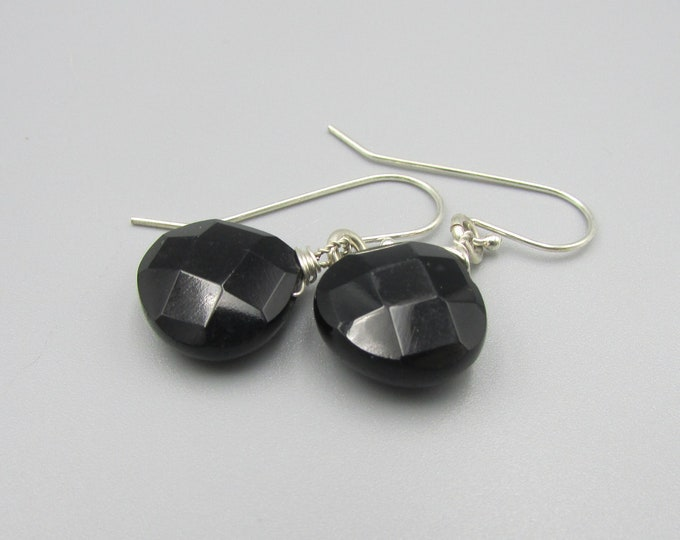 Black Onyx Teardrop Earrings | Black Simple Earrings | Black Drop Earrings | Everyday Earrings