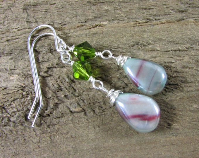 Moonstone Sterling Iridescent Earrings | Green Crystal Earrings | Signature Jewelry