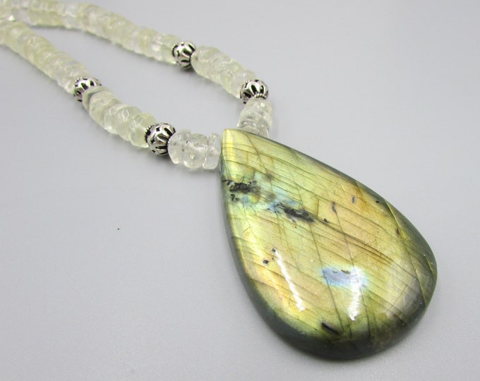 Labradorite & Fluorite Necklace, Gold Flash Labradorite Pendant