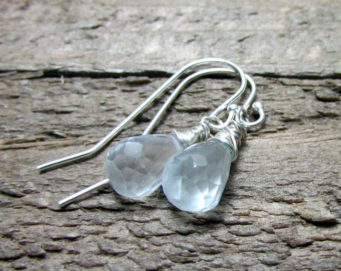 Dainty Aquamarine Gemstone Drop Earring, Light Blue Dangle
