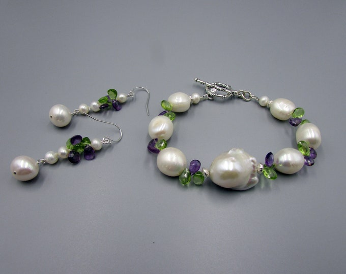 Pearl Bracelet Set | Pearl Earrings | Baroque Pearl Jewelry