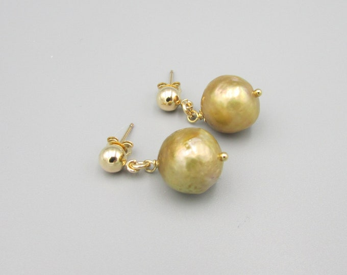 Round Pearl Drop Earrings | Gold Pearl Earrings | Simple Pearl Dangles | Stud Earrings | Gold Filled Jewelry | Edison Pearl Drops