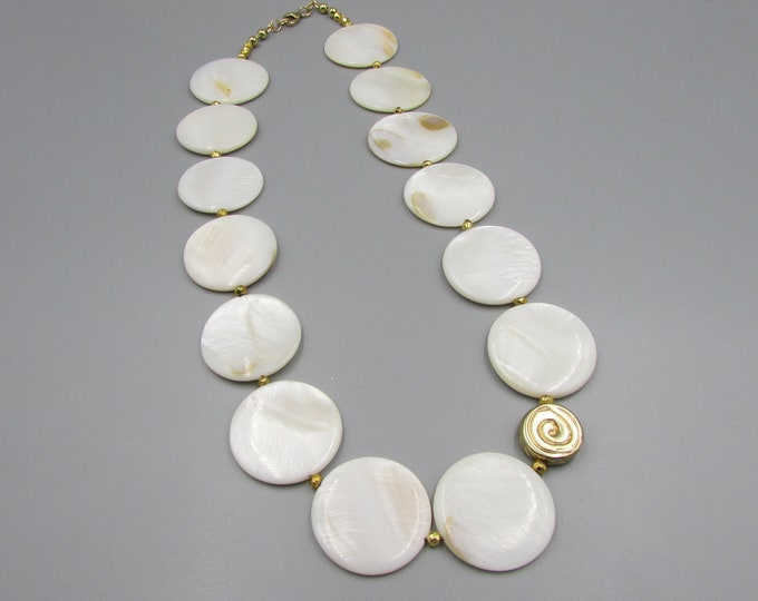 Mother of Pearl Necklace | White Coin Shell Necklace | Statement Necklace