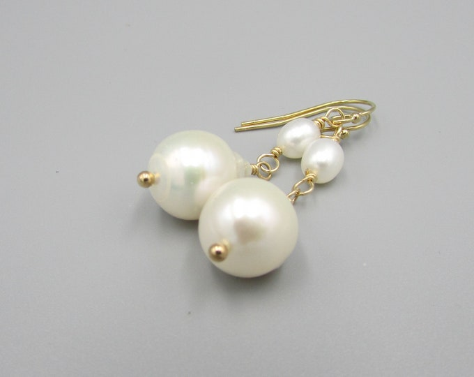 White Pearl Dangle | Real Pearl Jewelry | Teardrop Pearls | Bridesmaid Gifts