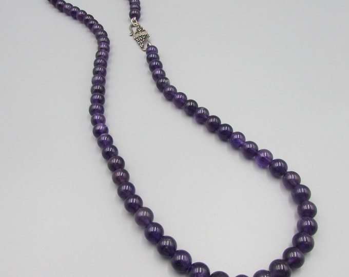 Hand Knotted AA Amethyst Necklace | Round Stone Necklaces | February Birthstone | Signature Jewelry