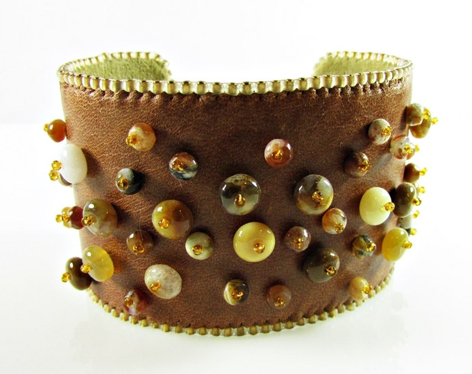 Opal Cuff Bracelet | Brown Leather Bracelets | Bead Embroidery Cuff
