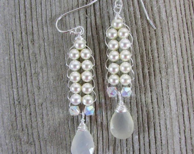 Pearl Long Earrings | Wedding Jewelry | Bridal Earrings
