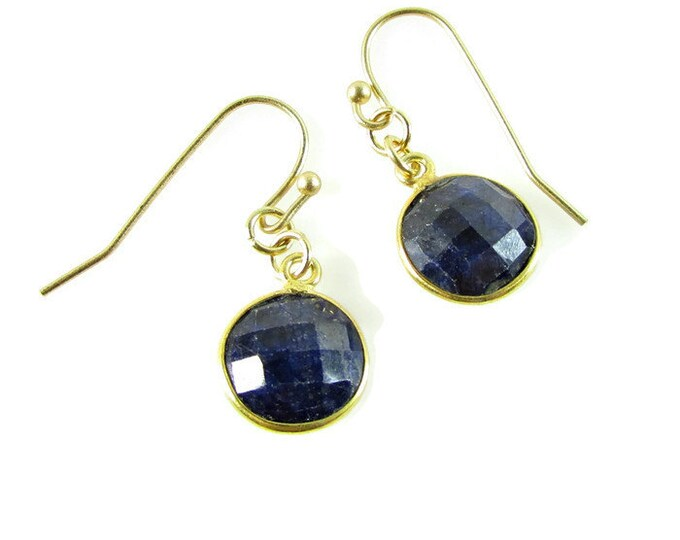 Blue Sapphire Drop Earrings | Round Stone Earrings | September Birthstone | Delicate Earrings