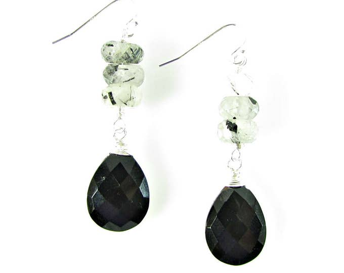 Black Onyx Teardrop Earrings | Black & White Dangles | Sterling Silver Gemstone Jewelry | Signature Earrings