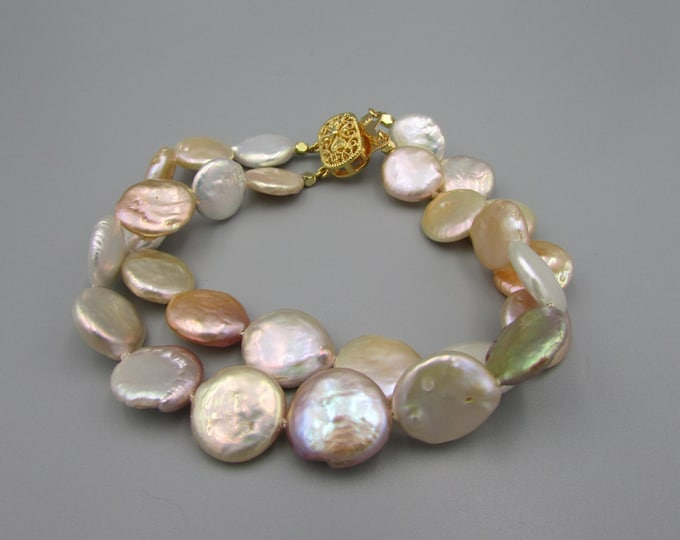 Multi Strand Coin Pearl Bracelet, Hand Knotted Pearl Bracelet